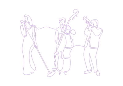 Purple line drawing of three jazz musicians representing Gabriel Bey's Spooky Kool band