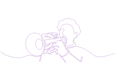 Purple line drawing on black background representing Gabriel Bey playing trumpet