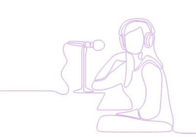 Purple line drawing of a woman with a microphone and headphones representing recording at Kingdom Works Studio